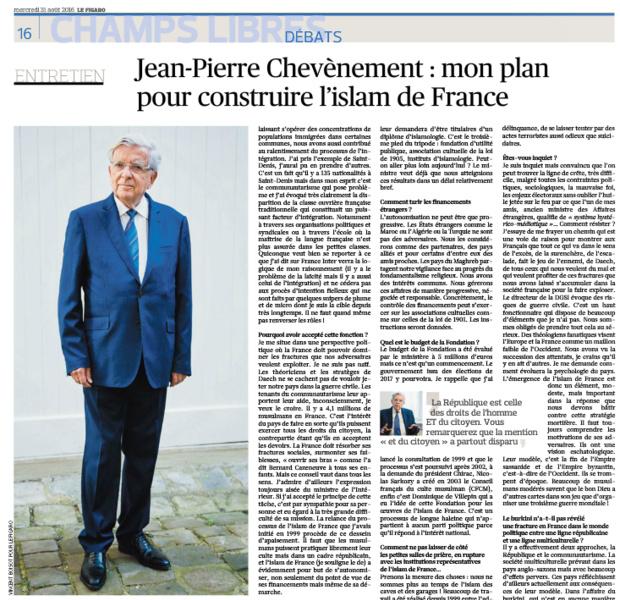Jean-Pierre Chevènement: mon plan pour construire l'islam de France