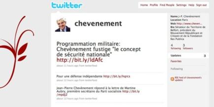 Capture d'écran du compte Twitter de Jean-Pierre Chevènement