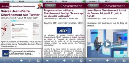 Page d'accueil, page article avec texte, page article avec vidéo