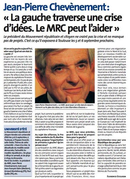 """Jean-Pierre Chevènement : """"La gauche traverse une crise d'idées. Le MRC peut l'aider"""""""