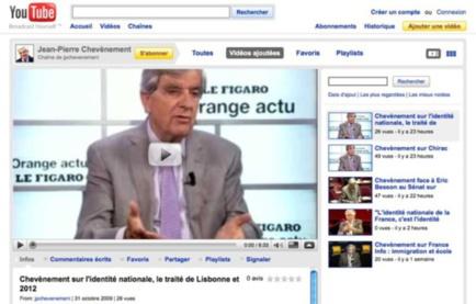 Capture d'écran des vidéos de Jean-Pierre Chevènement sur YouTube