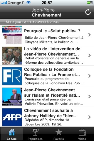 Une de l'application iPhone de Jean-Pierre Chevènement