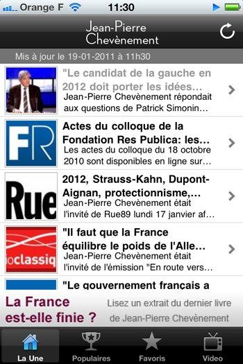 """Mettez à jour l'application iPhone de Jean-Pierre Chevènement et lisez un extrait de """"La France est-elle finie?"""""""