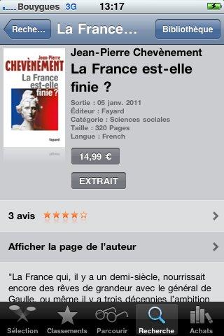 La France est-elle finie?, sur IBooks