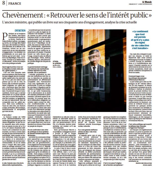 """""""Il faut retrouver l'esprit de la Ve République, le sens de l'intérêt public"""""""
