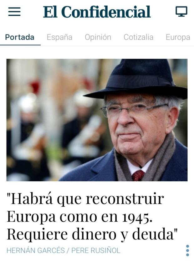 """Entretien à El Confidencial : """"Il faut mettre sur pied des mécanismes de solidarité financière qui donnent à l'Europe un contenu politique."""""""