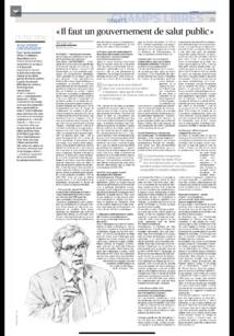 """Entretien au Figaro : """"Il faut un gouvernement de salut public"""""""