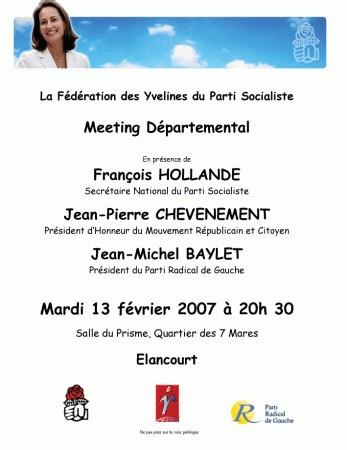 Jean-Pierre Chevènement en réunion publique à Elancourt le mardi 13 février à 20h30.