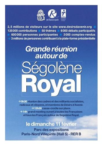 Grande réunion autour de Ségolène Royal dimanche 11 février à 14h30 à Villepinte