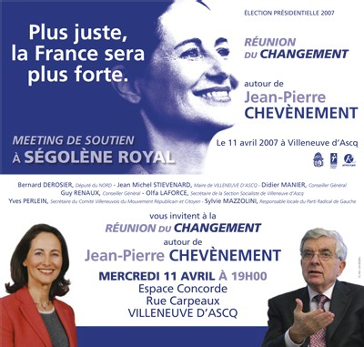 Jean-Pierre Chevènement en meeting à Villeneuve d'Ascq mercredi 11 avril à 19h