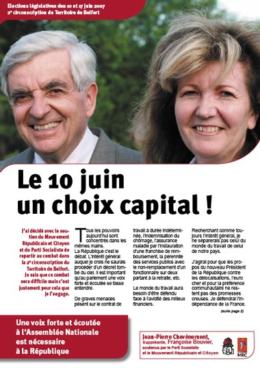 Téléchargez le tract de campagne législative de Jean-Pierre Chevènement : «Le 10 juin, un choix capital !»
