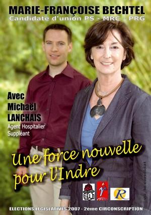 L'affiche officielle de campagne législative de Marie-Françoise Bechtel dans la 2ème circonscription de l'Indre