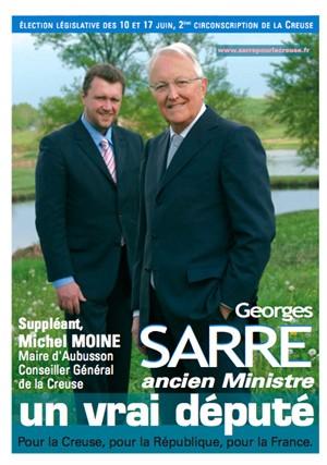 L'affiche officielle de campagne législative de Georges Sarre dans la 2ème circonscription de la Creuse