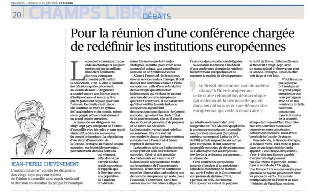 Pour la réunion d'une conférence chargée de redéfinir les institutions européennes