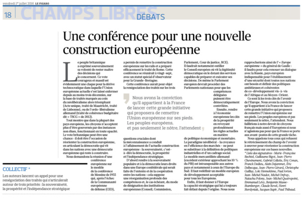 Une conférence pour une nouvelle construction européenne