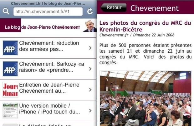 Capture d'écran de la page d'accueil et d'une page de navigation