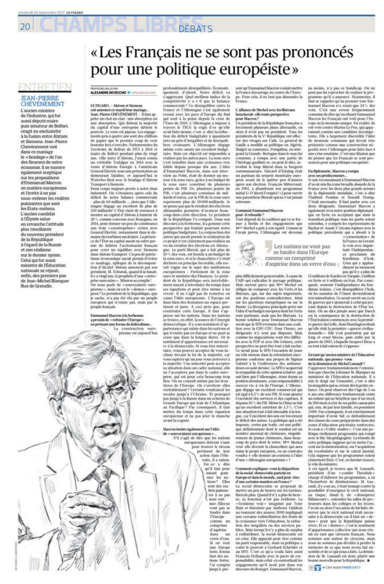 Alstom, Europe, Blanquer... mon entretien au Figaro