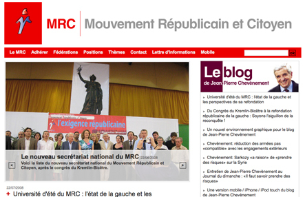 Capture d'écran de la page d'accueil du site du MRC