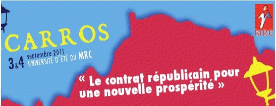 """Université d'été du MRC de Carros les 3 et 4 septembre : """"Le contrat républicain pour une nouvelle prospérité"""""""